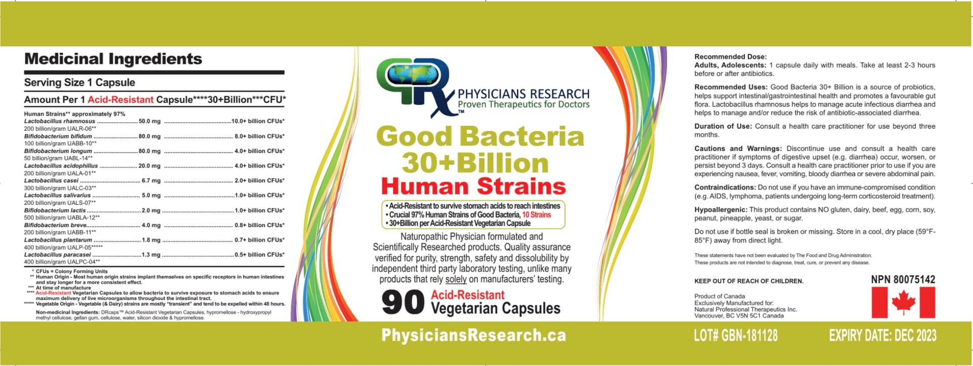 Dr. Jiwani Good Bacteria 30 Billion NO INULIN Label | Dr. Jiwani's Naturopathic Nuggets Blog