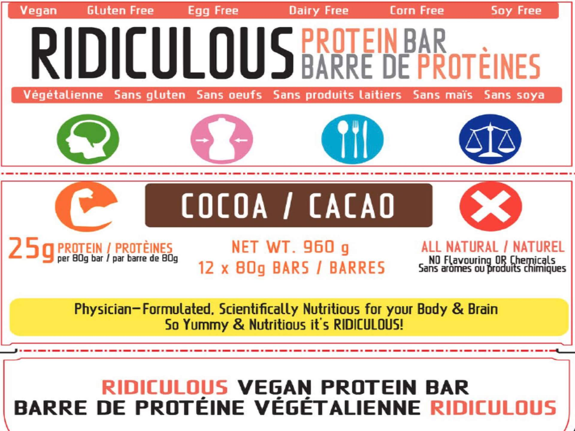Ridiculous Protein Bar 80g each (BOX of 12) HIGH Protein LOW Carb Vegan Organic Superfood  * Gluten-Free  * Wheat-Free  * Soy-Free  * Egg-Free  * Dairy-Free  * Corn-Free  * Yeast-Free