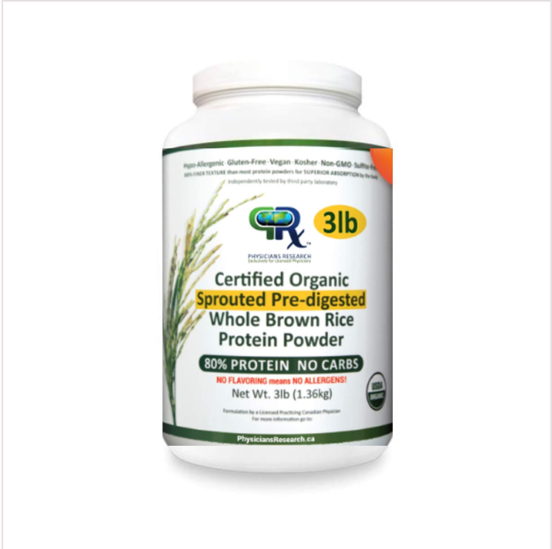 Brown Rice Protein: Certified Organic, 100% Organic Sprouted Pre-Digested Whole Brown Rice 80% Protein Unflavoured